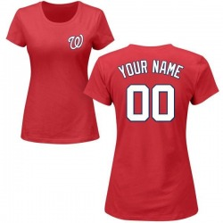 Women's Custom Washington Nationals Custom Roster Name & Number T-Shirt - Red